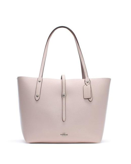 e6c90901da Lyst - Coach Market Polished Ice Pink Leather Tote Bag in Pink