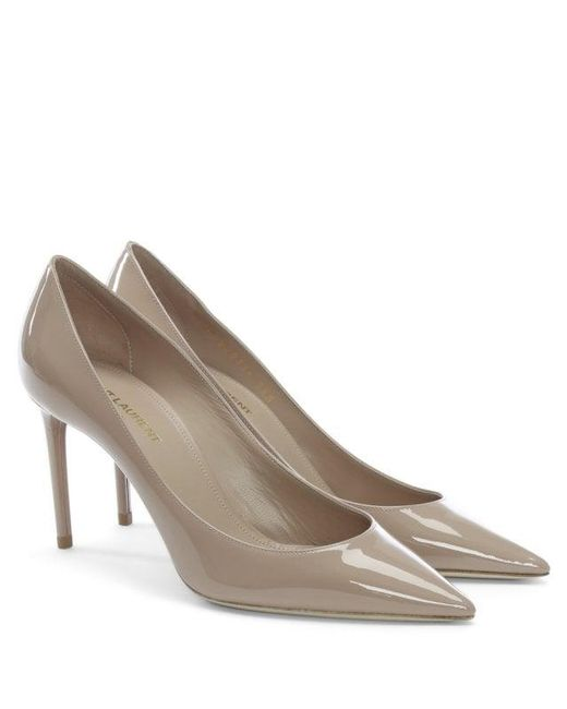 2c9f6aa0831 ... Saint Laurent - Natural Zoe 85 Nude Patent Leather Heeled Pumps - Lyst  ...
