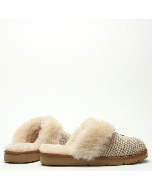 51824cd0237 Women's Natural Cozy Knit Cream Sheepskin Slippers