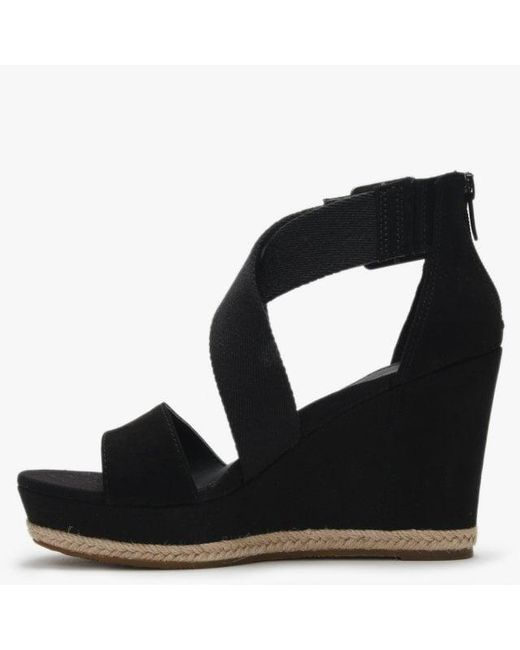 7c4f3e5be4c0 ... Ugg - Calla Black Textile Cross Strap Wedge Sandals - Lyst ...
