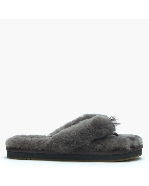 1fcdbb0f17df Lyst - UGG Women s Fluff Ii Grey Flip Flop Slippers in Gray
