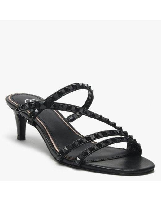 9233265ccb ... Ash - Kate Studs Black Leather Kitten Heel Sandals - Lyst ...