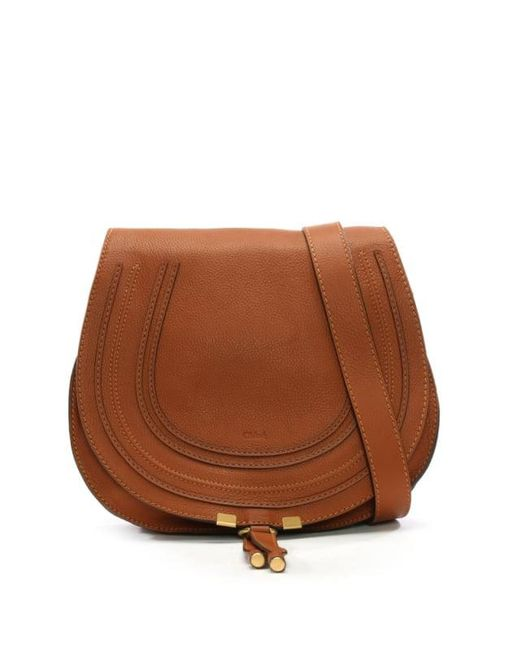 Chloé - Brown Chloe Marcie Tan Leather Medium Saddle Bag - Lyst