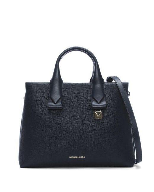 6fd3aa0f29c7 Michael Kors - Blue Large Rollins Admiral Pebbled Leather Satchel Bag -  Lyst ...