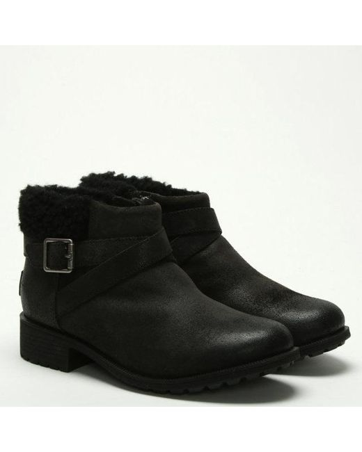 e6adcf7c4244 ... Ugg - Benson Black Leather Ankle Boots - Lyst ...