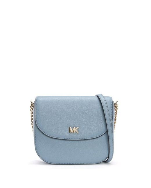 7f7d3d18c180 Lyst - Michael Kors Half Dome Pale Blue Leather Cross-body Bag in Blue