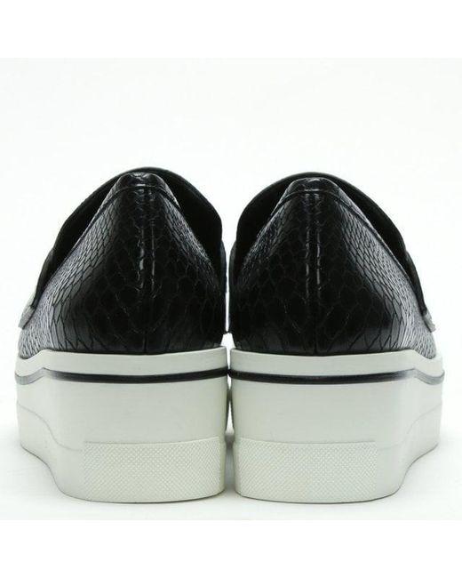 b18b5e1b1e5 ... Lyst Stella McCartney - Binx Black   White Reptile Platform Loafers ...
