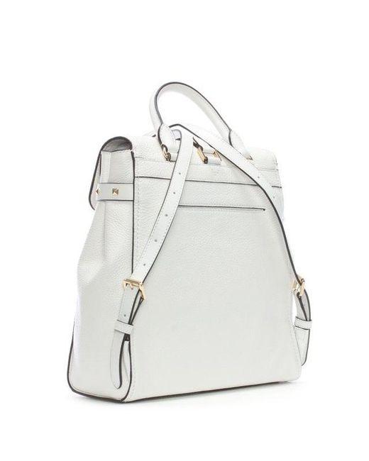 e77133fb2e ... Michael Kors - Addison Optic White Pebbled Leather Backpack - Lyst ...