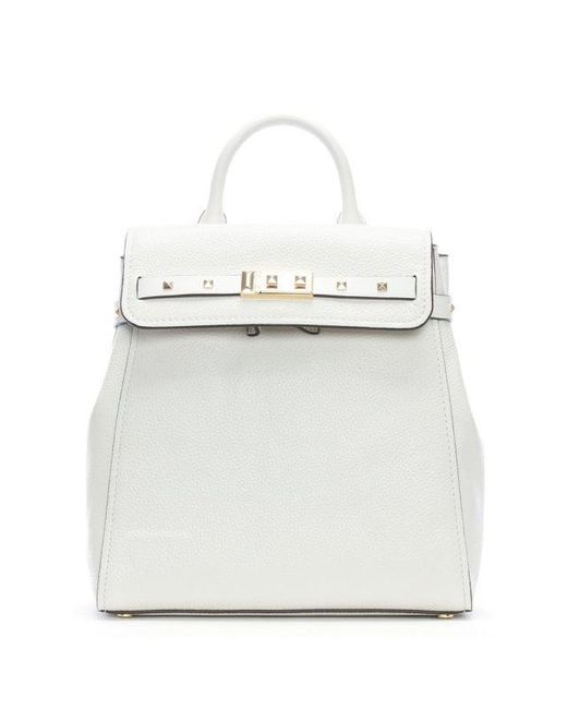 4126c8cebf Michael Kors Addison Optic White Pebbled Leather Backpack in White ...
