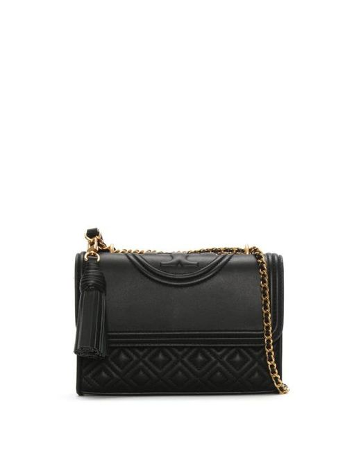 f2ecbc93041c Tory Burch - Fleming Small Convertible Black Leather Shoulder Bag - Lyst ...
