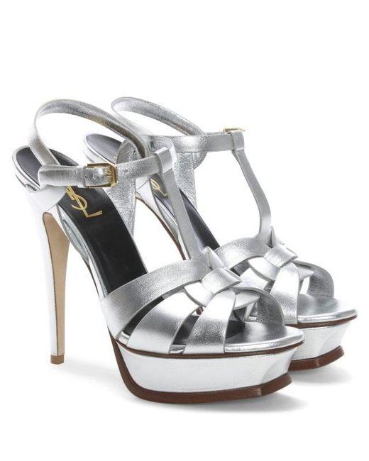 2efd18e798e ... Saint Laurent - Metallic Tribute 105 Silver Leather Platform Sandals -  Lyst ...