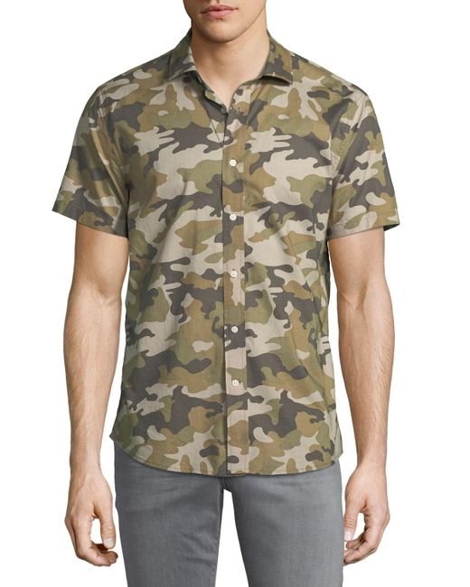 Slate & Stone - Green Camouflage Short-sleeve Sport Shirt for Men - Lyst