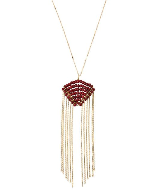 Panacea - Red Crystal & Fringe Pendant Necklace - Lyst