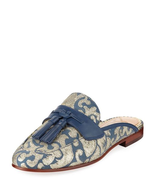 Sam Edelman - Blue Paris Jacquard Tassel Mule Loafer - Lyst