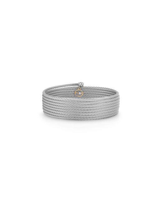 Alor | Gray Classique Cable Wrap Bracelet W/ Diamond Charm | Lyst