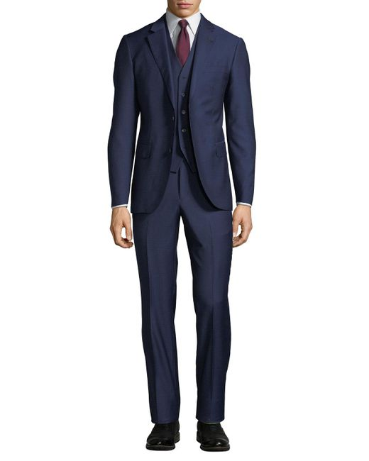 Neiman Marcus - Blue Men's Mini Box Weave Vested 3-piece Suit for Men - Lyst