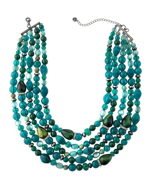 Lydell NYC - Green Multi-strand Semi-layered Necklace - Lyst