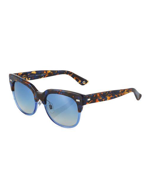 066355de76e62 Lyst - Gucci Square Two-tone Havana Plastic Sunglasses in Brown ...