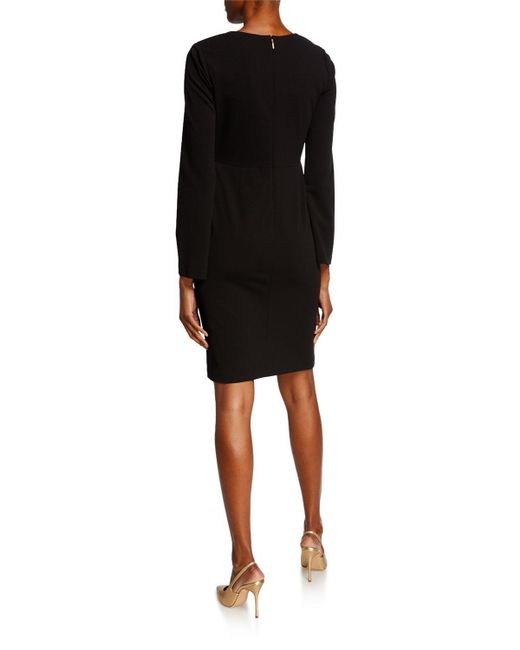 9b762750 ... Donna Karan - Black V-neck Faux Wrap Sheath Dress - Lyst