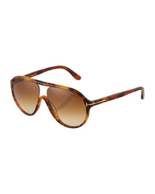 Tom Ford - Brown Plastic Round Havana Sunglasses - Lyst