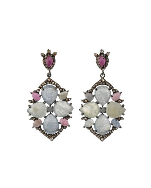 Bavna - Metallic Silver Multi-cut Drop Earrings With Multicolor Sapphire & Diamonds - Lyst