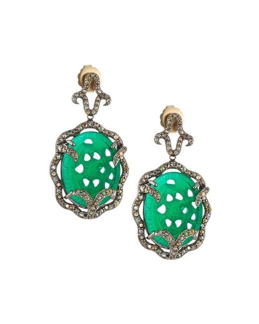 Bavna - Green Diamond Pavé Chalcedony Drop Earrings - Lyst