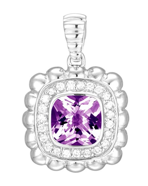 John Hardy | Multicolor Bedeg Small Square Pendant Enhancer W/ Amethyst & Diamonds | Lyst