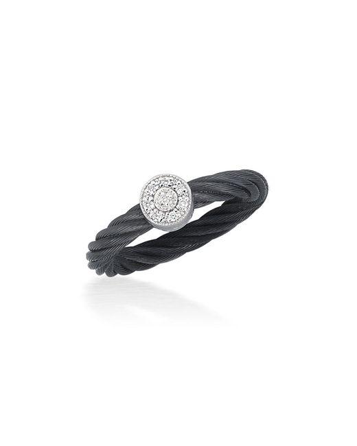 Alor - Noir Black Cable Ring W/ Round Diamond Station - Lyst