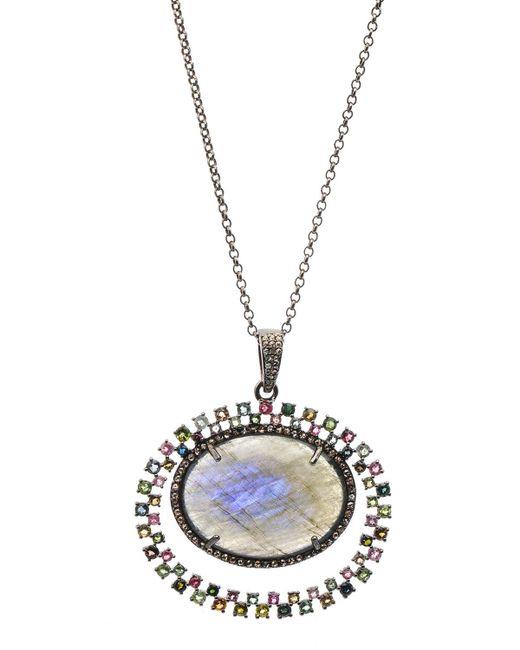 Bavna Gray Labradorite & Tourmaline Necklace W/ Diamonds