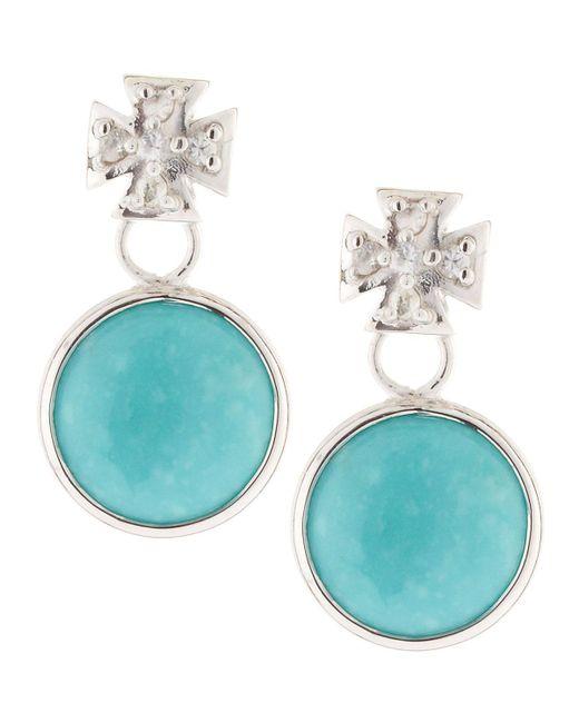 Elizabeth Showers - Blue Maltese Cross & Turquoise Dangle & Drop Earrings - Lyst