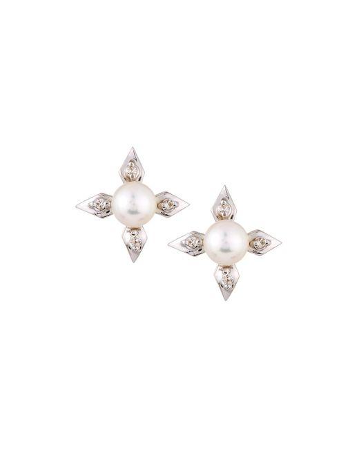 Belpearl | Metallic 14k 4-point Pearl & Diamond Stud Earrings | Lyst