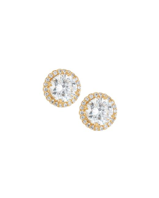 Fantasia by Deserio - Metallic 22k Gold-plated Cz Stud Earrings Clear - Lyst