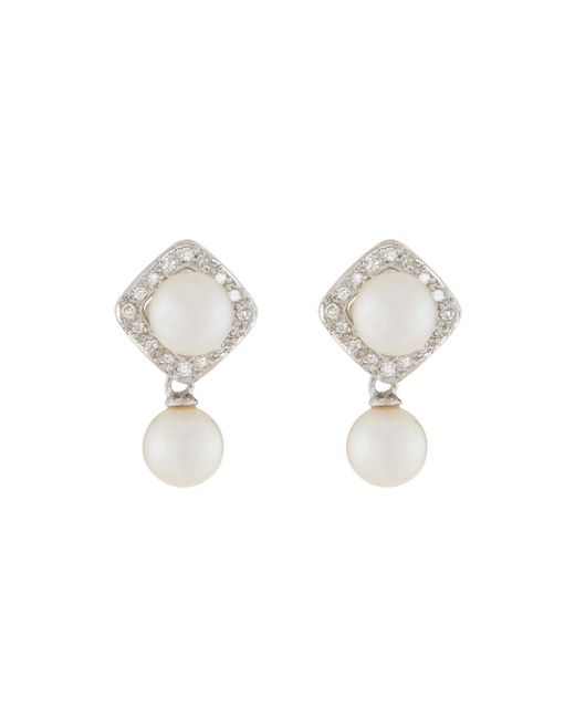 Belpearl - Metallic 14k Double Akoya Pearl Drop Earrings - Lyst