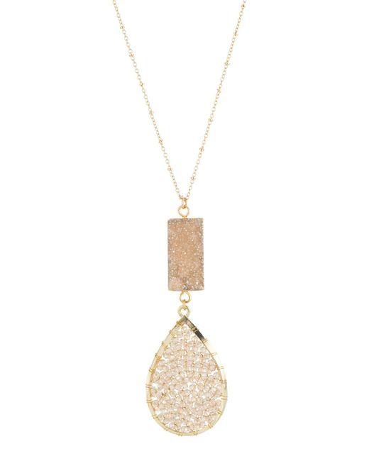 Panacea | Metallic Long Champagne Drusy & Beaded Double-drop Pendant Necklace | Lyst