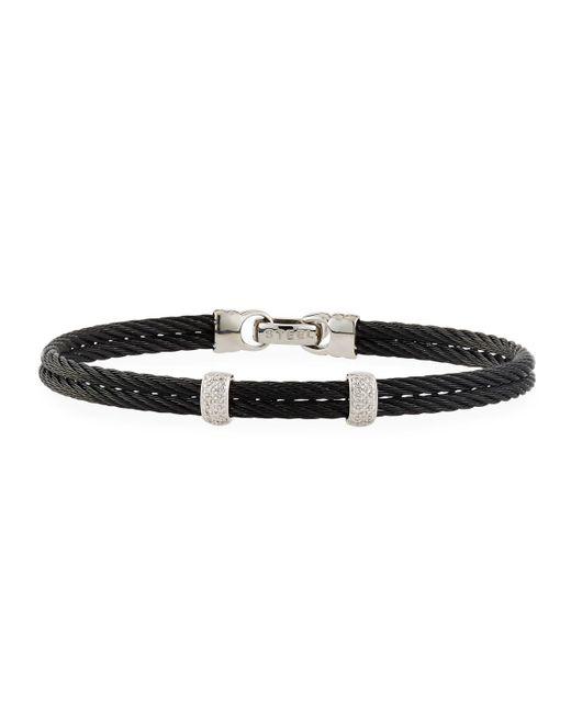 Alor - Noir Black Stainless Steel & Diamond Cable Bangle Bracelet - Lyst