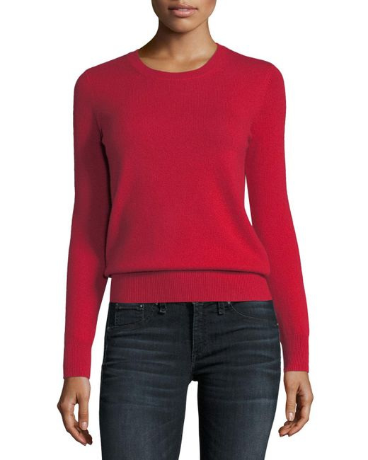 Neiman Marcus - Red Classic Cashmere Crewneck Sweater - Lyst