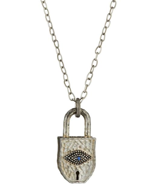 Bavna | Metallic Sterling Silver Padlock Pendant Necklace W/ Diamond Eye | Lyst
