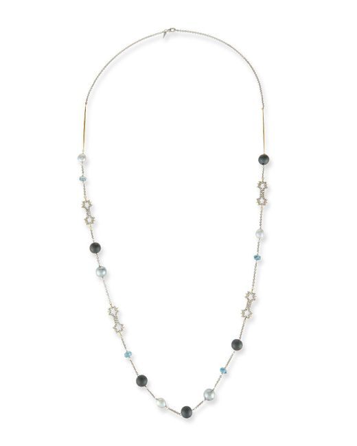 Alexis Bittar | Metallic Pearly Crystal Lace Station Necklace | Lyst