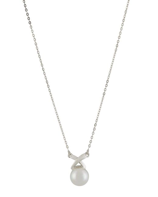 Majorica | White 10mm Round Pearly X Pendant Necklace | Lyst