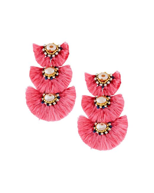 Nakamol - Pink Triple-drop Fringe Earrings - Lyst