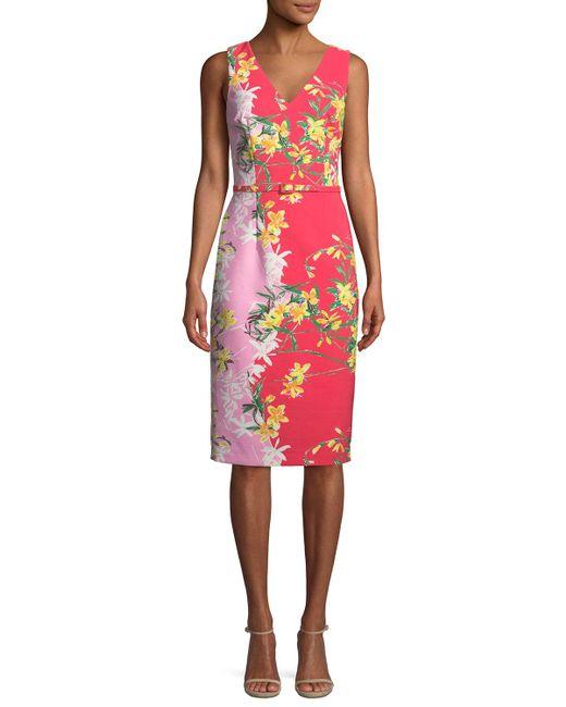 David Meister - Pink Two-tone V-neck Sleeveless Dress - Lyst