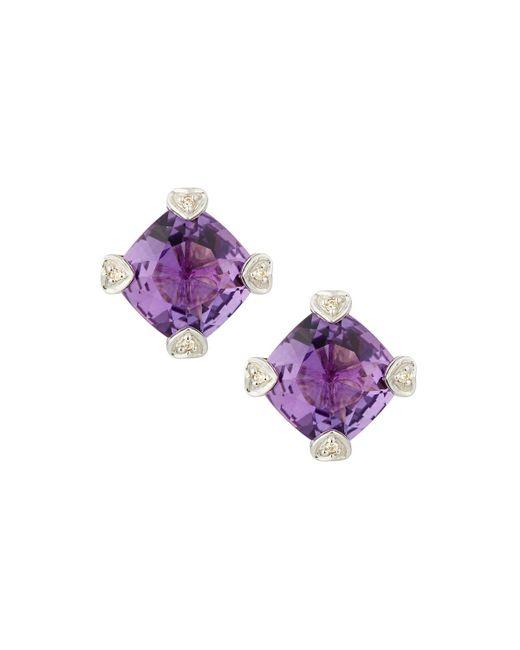 Judith Ripka | Purple Cushion-cut Amethyst & Diamond Stud Earrings | Lyst