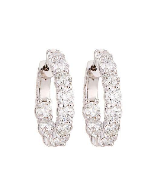 Neiman Marcus - 18k White Gold Diamond Hoop Earrings 4.10tcw - Lyst
