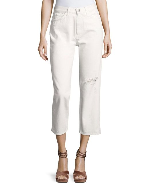 MiH Jeans | White Jeanne Ripped Cropped Pants | Lyst