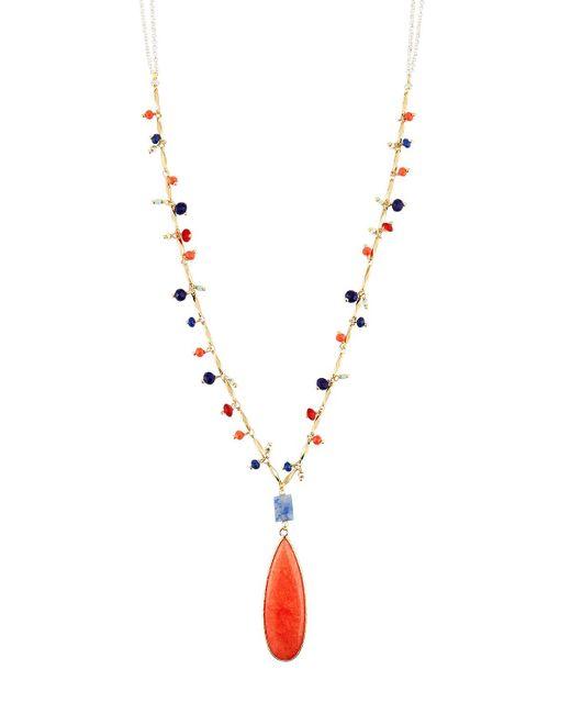 Nakamol - Orange Beaded Teardrop Pendant Necklace - Lyst