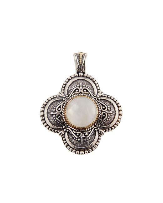 Konstantino - White Erato Labradorite Doublet Rounded Cross Pendant Enhancer - Lyst