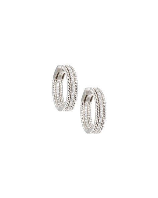 Neiman Marcus - 14k White Gold Twisted Diamond Hoop Earrings - Lyst