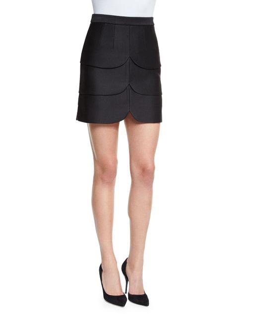 Co. | Black Scalloped Satin Mini Skirt | Lyst