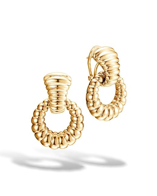 John Hardy - Metallic Classic Chain 18k Hoop Drop Earrings - Lyst