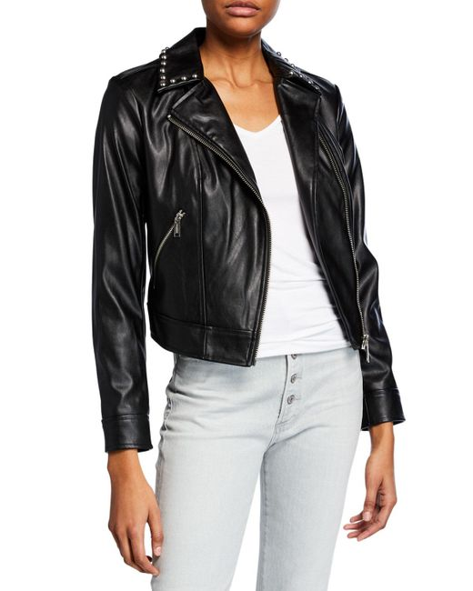 MICHAEL Michael Kors - Black Studded Faux-leather Moto Jacket - Lyst